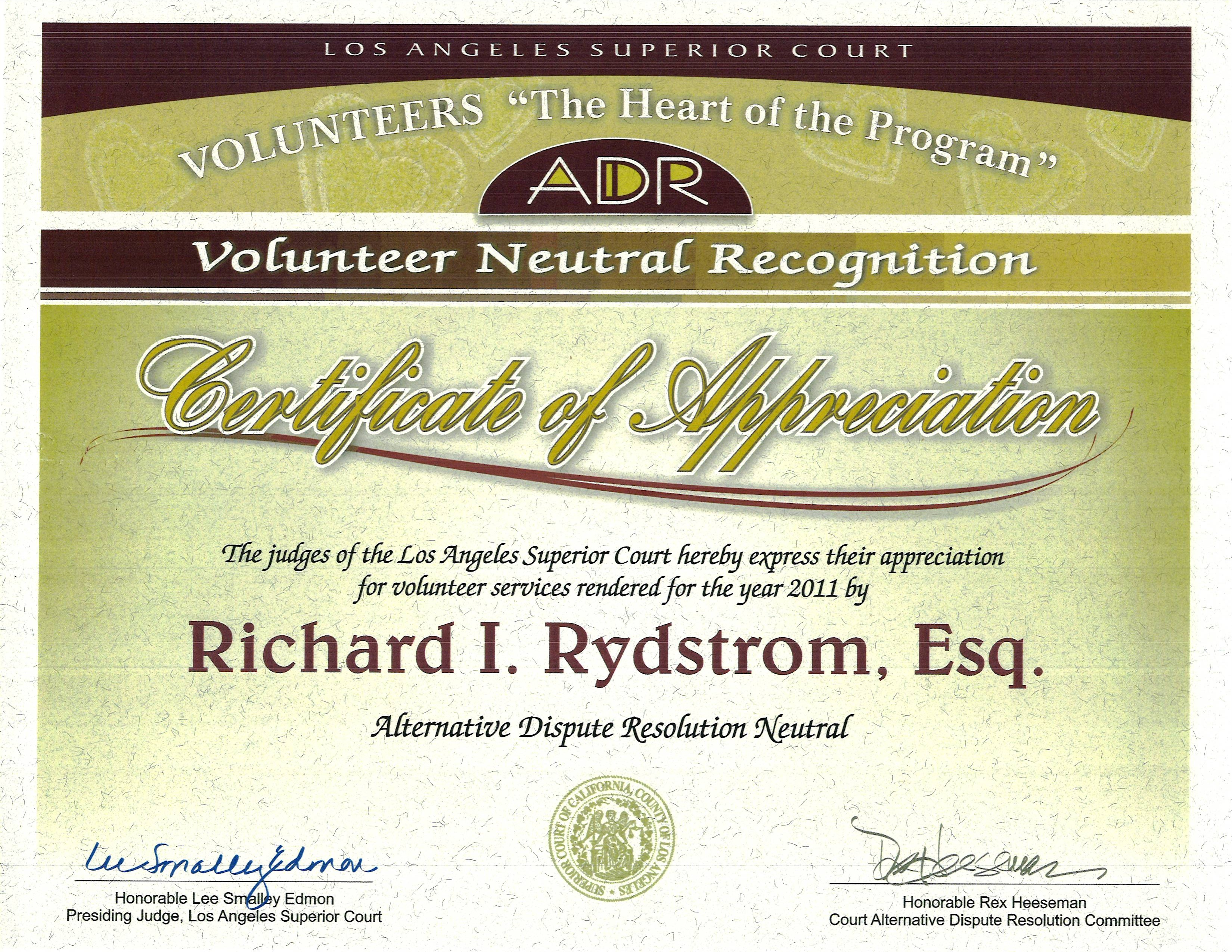 Green business attorney rich rydstrom receives settlement award re los angeles judges yadclub Choice Image